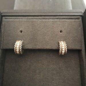David Yurman Cable Hoop Earrings with Diamonds